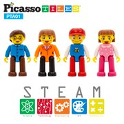 PicassoTiles 4 Piece Family Character People Figure Set PTA01