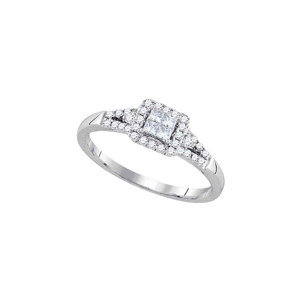 14kt White Gold Womens Princess Diamond Square Frame Cluster Ring 1/3 Cttw