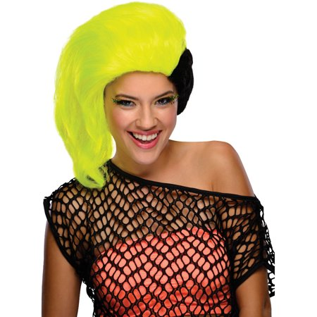 Adults Womens 80s Neon Yellow Black Side Part Sweep Punk Rave Costume Wig (80s Neon Makeup)