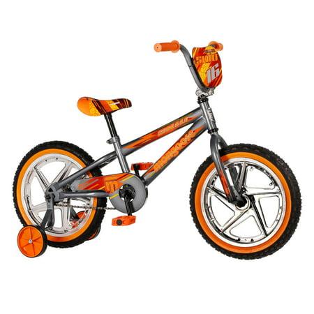 Mongoose 16u0022 Skid Single Speed Kids Training Wheel Sidewalk Bicycle, Gray/Orange