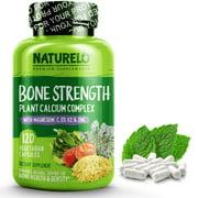 Bone Strength - with Plant Calcium, Magnesium, Vitamins C, D3, & K2 - 120 Vegetarian Capsules