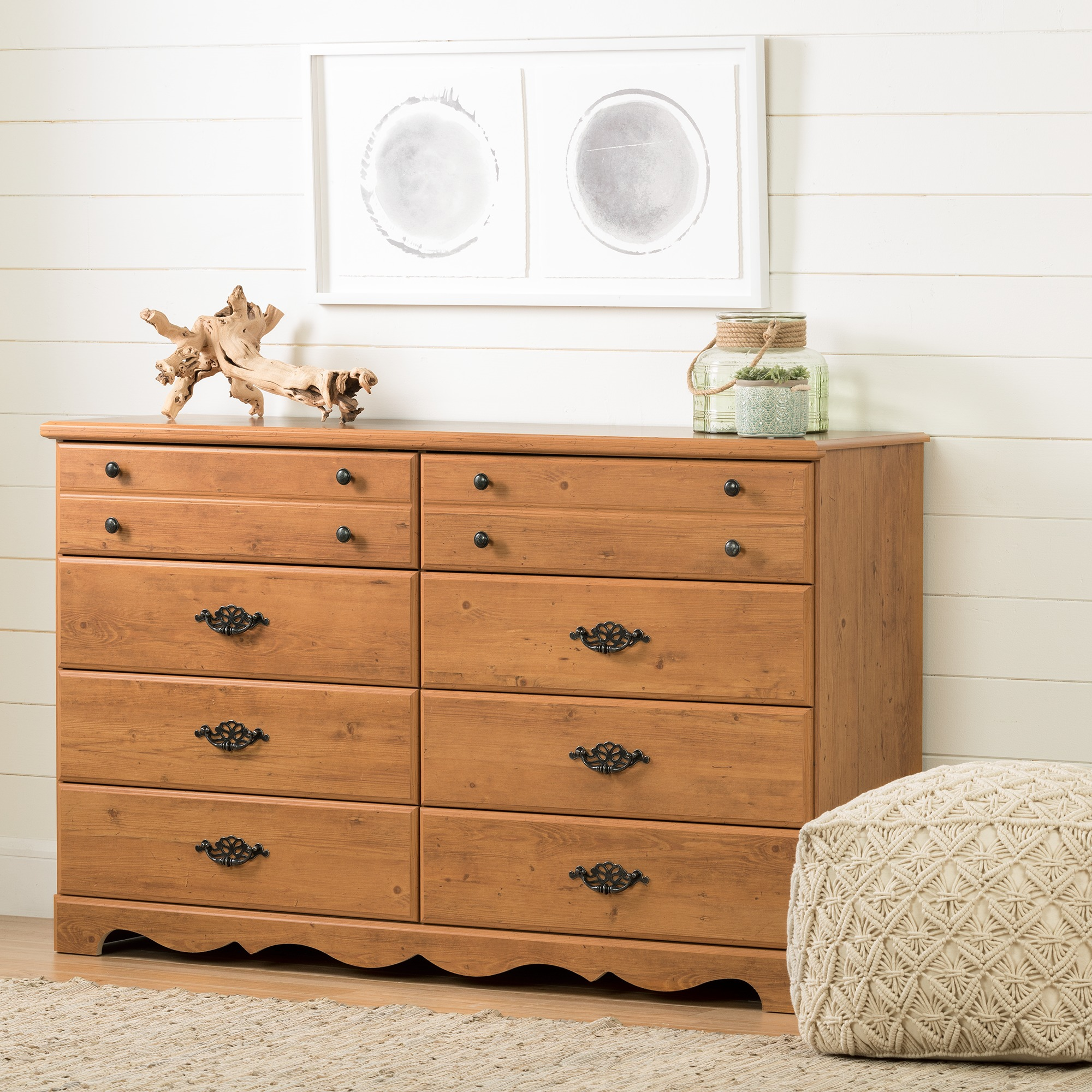 South Shore Prairie 8-Drawer Double Dresser, Country Pine by South Shore