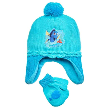 Finding Nemo Outfit (Disney Finding Nemo Toddler Girls Blue Dory Hat & Mittens Beanie)
