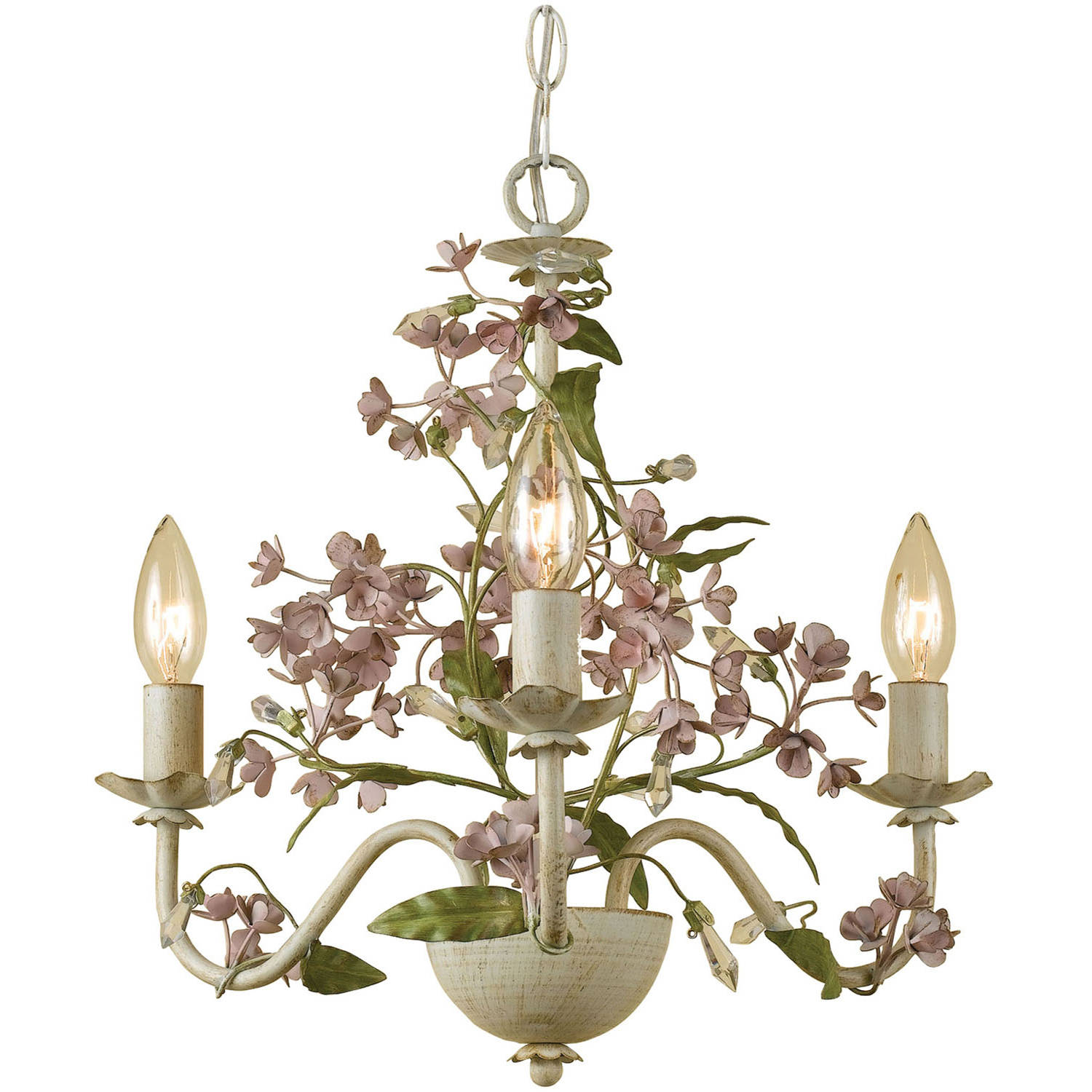 AF Lighting Grace 3-Light Chandelier, Antique Cream