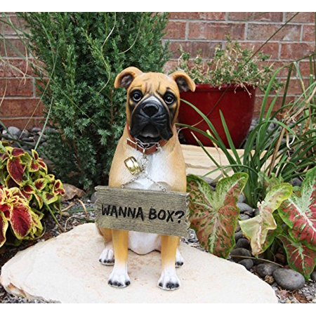 Large Adorable Fawn Boxer Garden Greeter Statue With Jingle Collar 13.25