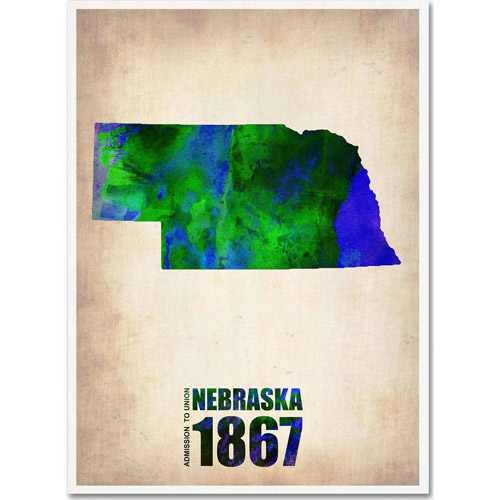 "Trademark Fine Art ""Nebraska Watercolor Map"" Canvas Art by Naxart"