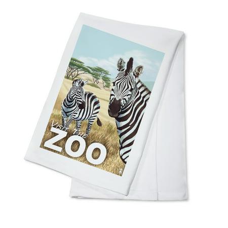 Visit the Zoo - Zebra Scene - Lantern Press Poster (100% Cotton Kitchen Towel)