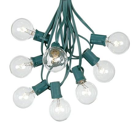 Clear Globe String Lights (G40 Patio String Lights with 25 Clear Globe Bulbs – Outdoor String Lights – Market Bistro Café Hanging String Lights – Patio Garden Umbrella Globe Lights - Green Wire -)