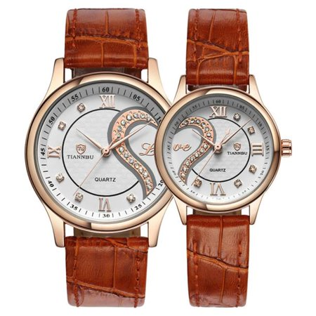 Couple Watch - 1 Pair Tiannbu Ultrathin Leather Romantic Fashion Couple Wrist Watches GD