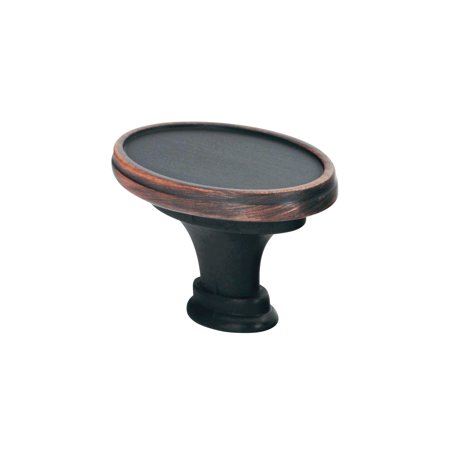 Bronze Oval Cabinet - Oval style Brushed Oil-Rubbed Bronze Cabinet Hardware Knob, 1-17/32 Inch Overall Length
