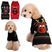 cozy knitted breathable pets clothes red nose deer pattern dog vest winter coat warm dog