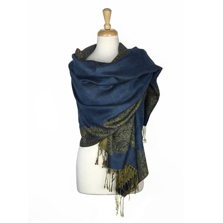 Layer Scarf - Paskmlna® Border Pattern Double Layered Reversible Woven Pashmina Shawl Scarf Wrap Stole #10