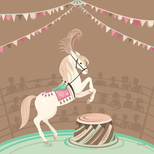 Oopsy Daisy - Circus Horse - Brown Canvas Wall Art 18x18, Pim Pimlada