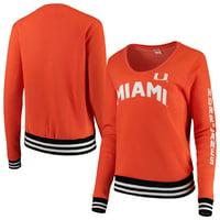 Miami Hurricanes Blue 84 Women's Emily Varsity Banded V-Neck Pullover Sweatshirt - Orange