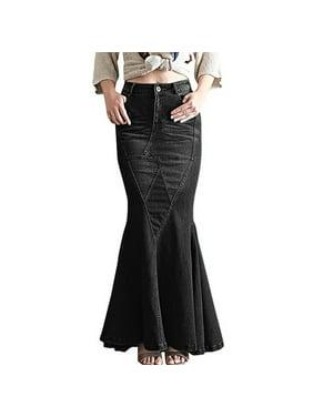 Women's Fashion Casual Stretch Waist Fishtail Mermaid Skirts Maxi Long Jean Skirt