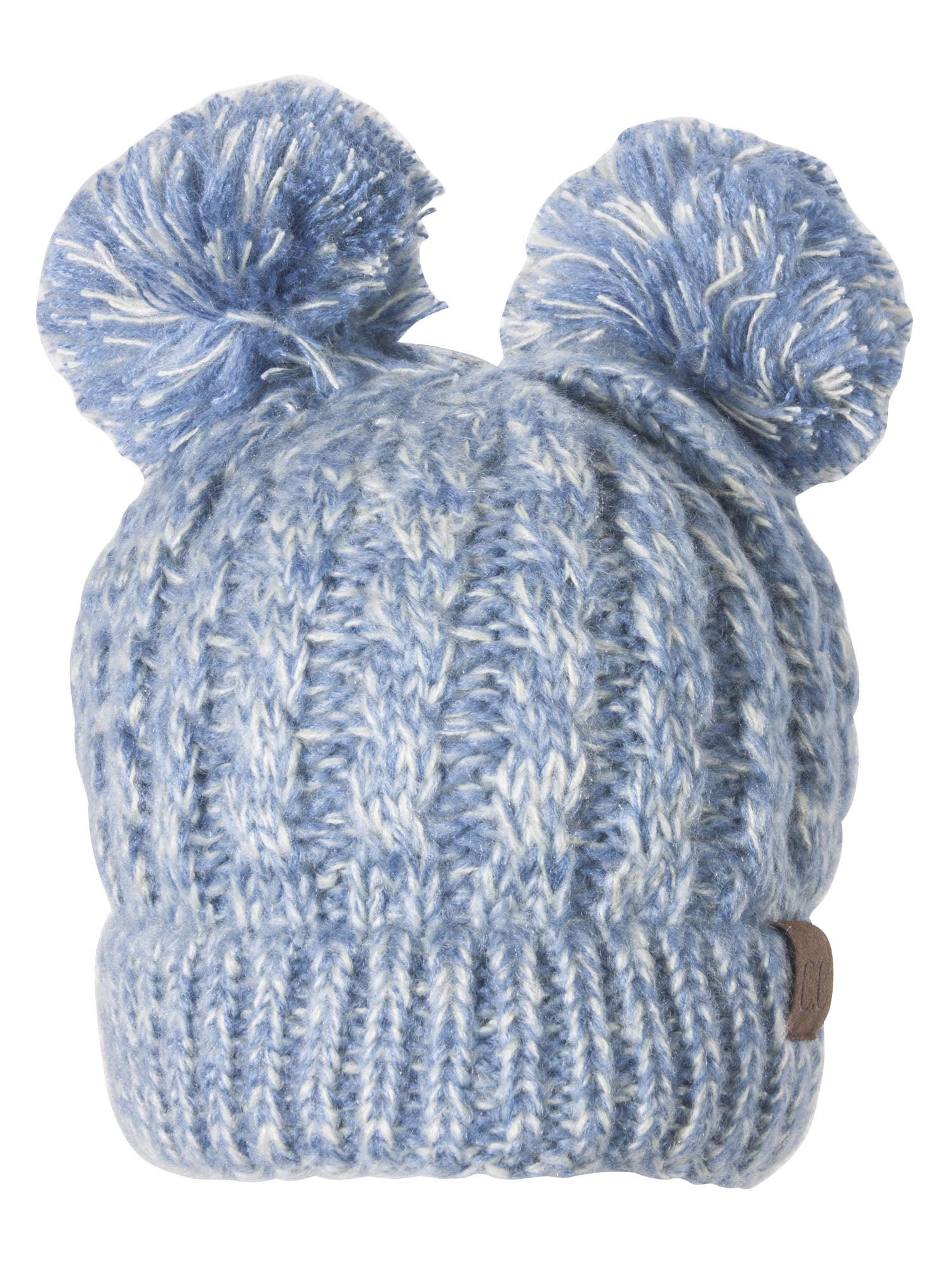 Light blue with white threads two pom poms beanie