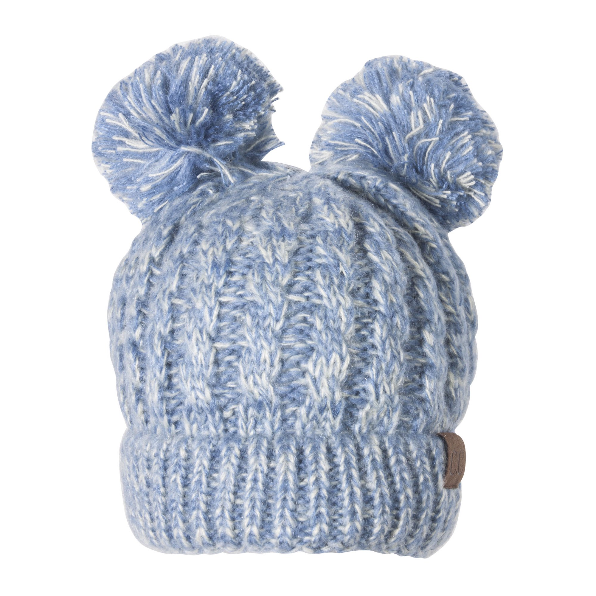 ac32839d0 Double Pom Pom Cable Knit Soft Stretch Beanie - Denim | Walmart Canada
