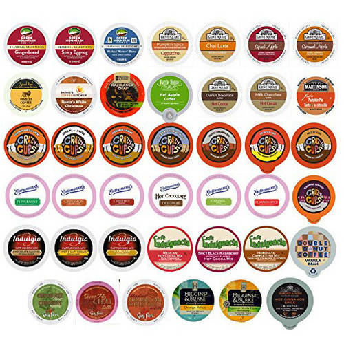 Holiday Gift Winter and Seasonal Flavored Coffee, Tea, Hot Cocoa and Cider Single Serve Cups for Keurig K cup Brewers, 40 Count PSMIX40