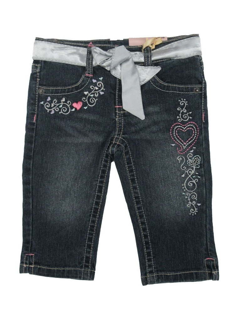 Jet Little Girls Blue Embroidered Belt Cotton Denim Trendy Pants