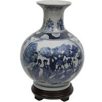 "Oriental Furniture 12"" Ladies Blue & White Porcelain Vase"