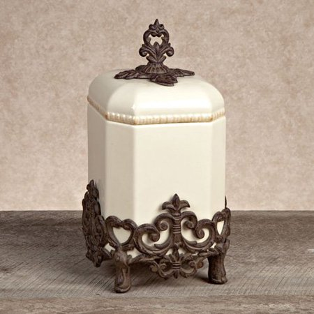 GG Collection Provencal Canister with Metal Base - Cream