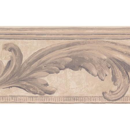 Brown Beige Vine Damask Victorian Wallpaper Border Vintage Design, Roll 15' x 7'' ()