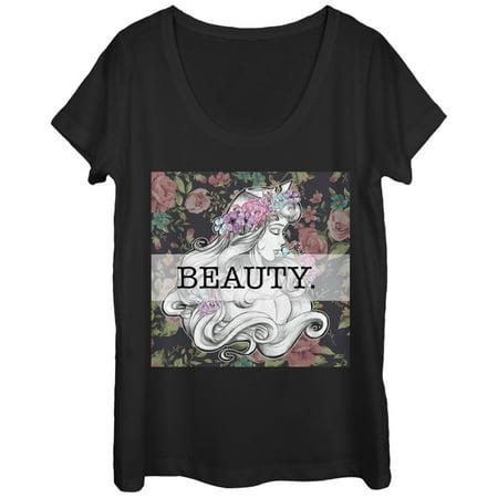 Sleeping Beauty Aurora Floral Print Womens Graphic Scoop Neck