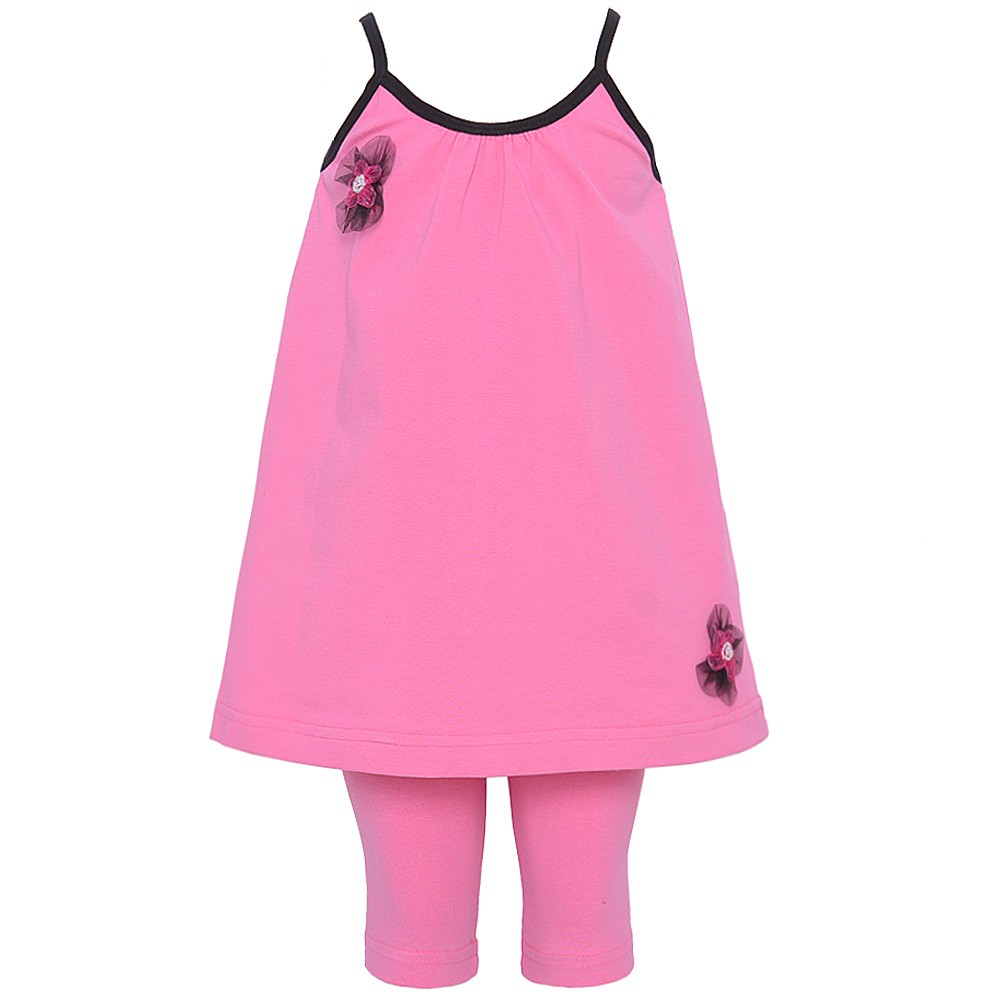Consolidated Clothiers Kash Ten Little Girls Fuchsia Sleeveless Tunic Flower 2Pc Legging Set 2T