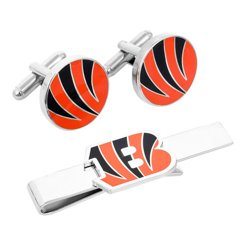 Men's Cufflinks Inc Cincinnati Bengals Cufflinks and Tie Bar Gift Set