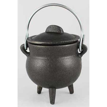 """Wood Burning Fireplace Accessories Cauldrons Plain Cast Iron Black with Handle and Lid Small 3"""""""