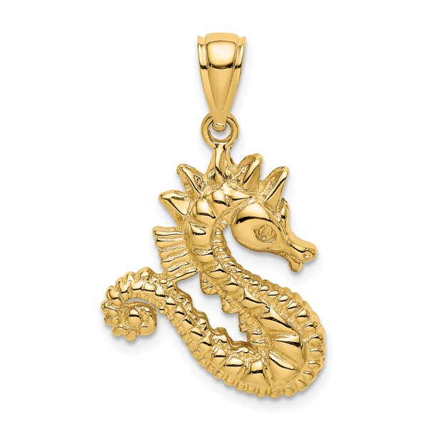14k Yellow Gold 2-D Seahorse Charm Pendant