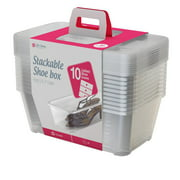 Life Story 5.7-Liter Clear Shoe & Closet Storage Box Stacking Container, 10 Pack