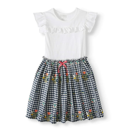 Ruffle Tee and Embroiderd Gingham Dress (Little Girls & Big