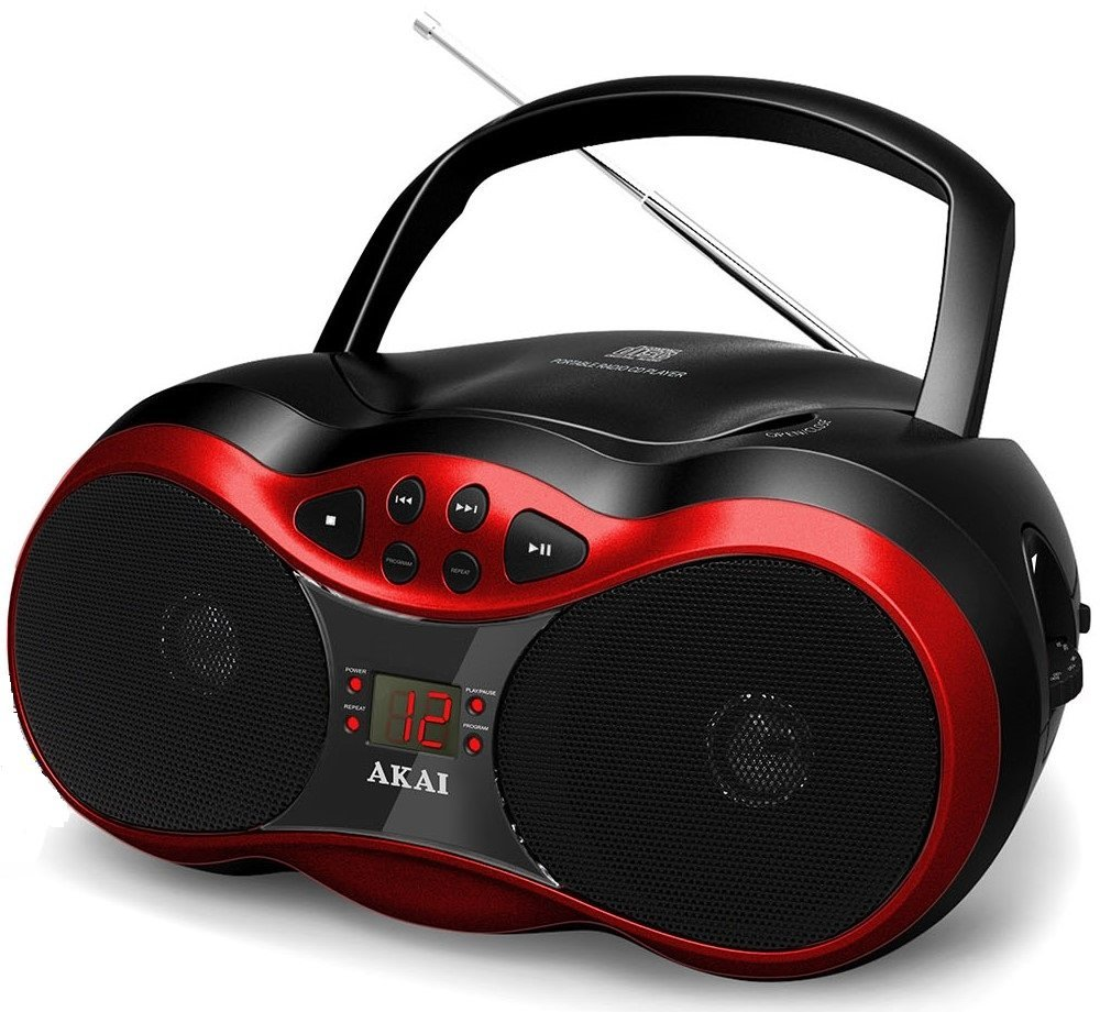Akai Ce2018r Red Cd Boombox With Am Fm Radio