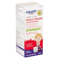 Equate Children's Grape Flavored Pain & Fever Liquid, Ages 2 to 11 Years, 4 fl oz