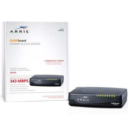 ARRIS SURFboard TM822R (8x4) Voice Cable Modem, DOCSIS 3.0 | Certified for Xfinity by Comcast | 343 Mbps Max