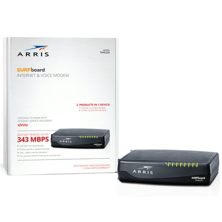 ARRIS SURFboard TM822R (8x4) Voice Cable Modem, DOCSIS 3.0 | Certified for Xfinity by Comcast | 343 Mbps Max Speed ()