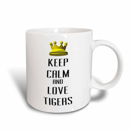 3dRose  Gold Crown Keep Calm And Love Tigers, Ceramic Mug, (Tigers Ceramic Chip)