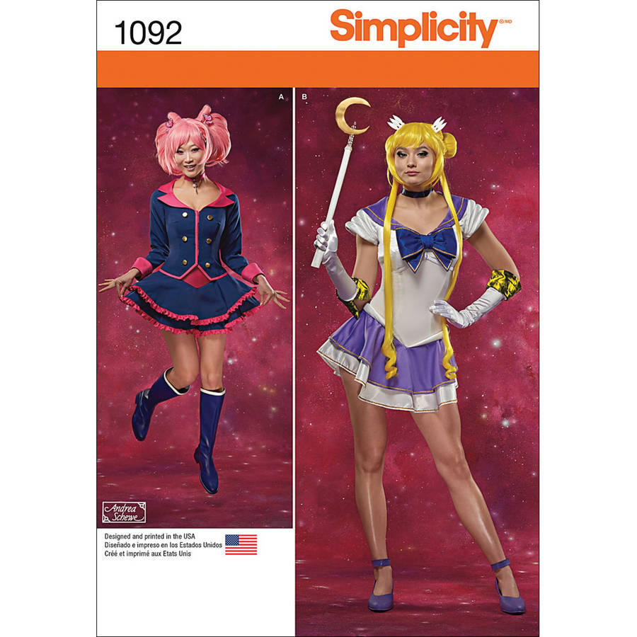 Simplicity Misses' Size 6-14 Costumes with Built-In Knit Bodysuits Pattern, 1 Each