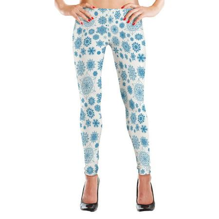MyLeggings Buttersoft High Waistband Leggings Light Blue Snowflake
