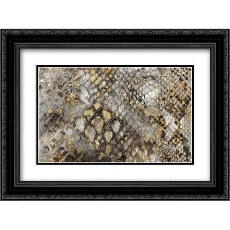 Snake Skin 2x Matted 24x18 Black Ornate Framed Art Print by PI Galerie Black Snake Skin Print