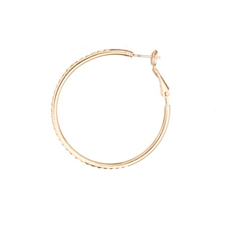 Ear Hoops Earring, Half-Hoop Design Earring With Rhinestone Setting Tray, With 14K Gold Finished Jewelry Alloy Metal, 4mm Surgical Stainless Steel Pin, Size 40x40mm Sold per pkg of 2pcs
