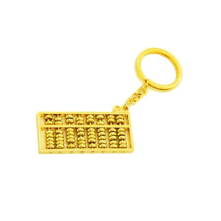 Durable Gold-tone Key Chian Decor w Abacus Pendant