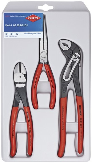 KNIPEX Tools 00 20 08 US1, Long Nose, Diagonal Cutter, and Alligator Pliers Tool Set,... by KNIPEX Tools