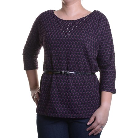 Eci Ny Misses Womens Embellished Pullover Sweater Purple Black Size L