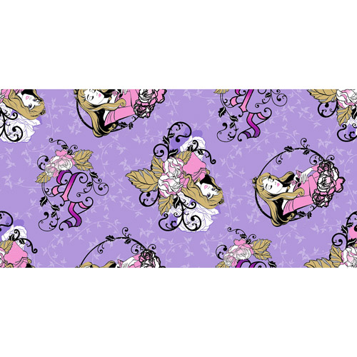 "Disney Maleficent Sleeping Beauty Badge Toss, Fleece, Purple, 59/60"" Wide, Fabric by the Yard"