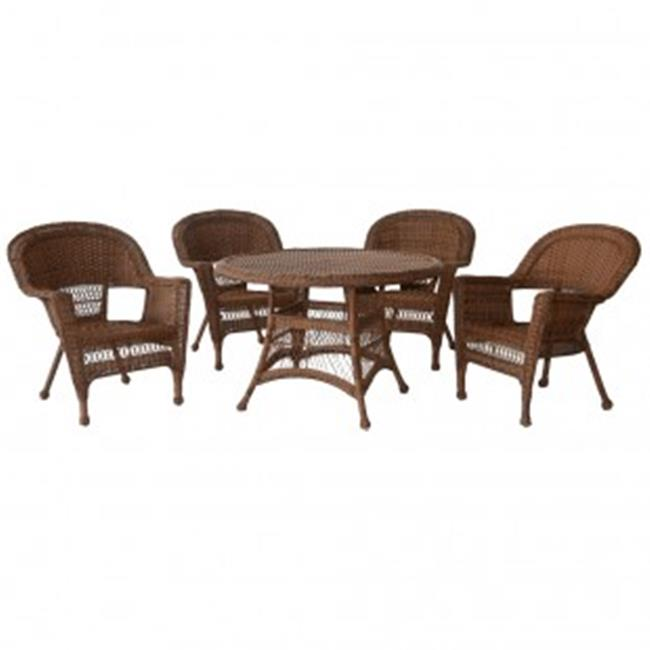 Jeco W00205D-C-G 5 Piece Honey Wicker Dining Set