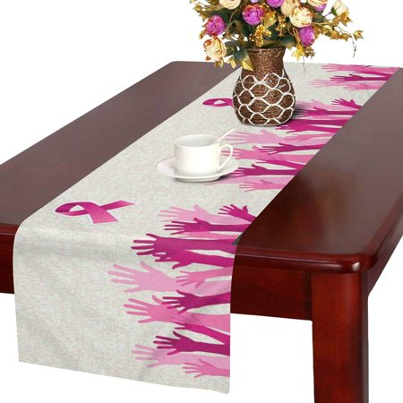 MKHERT Breast Cancer Awareness Hand People Campaign with Pink Ribbon Table Runner Home Decor for Wedding Party Banquet Decoration 16x72 Inch ()