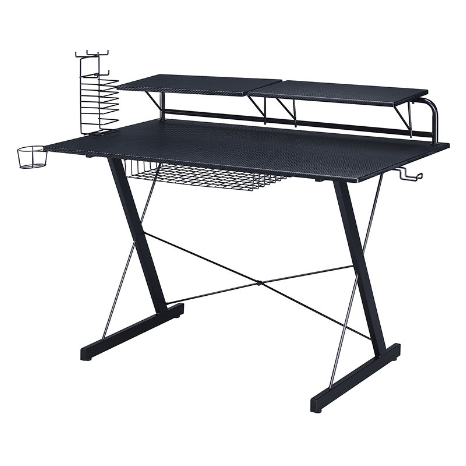 Techni Sport Black Carbon Computer Gaming Desk with Adjustable, Configurable Shelves