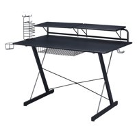 Techni Sport Gaming Desk with Adjustable Configurable Shelves, black